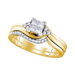 0.33 CTW Certified Princess Diamond Bridal Engagement Ring 10KT Yellow Gold - REF-44W9K