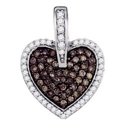 0.50 CTW Cognac-brown Color Diamond Framed Heart Pendant 10KT White Gold - REF-26M9H