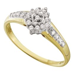 0.11 CTW Diamond Cluster Ring 10KT Yellow Gold - REF-12F2N