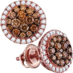 1.01 CTW Cognac-brown Color Diamond Circle Cluster Earrings 14KT Rose Gold - REF-89H9M