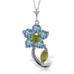 Genuine 0.87 ctw Blue Topaz & Peridot Necklace Jewelry 14KT White Gold - REF-25R4P