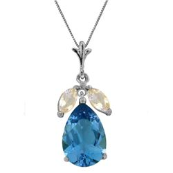 Genuine 6.5 ctw Blue Topaz & White Topaz Necklace Jewelry 14KT White Gold - REF-38Y2F