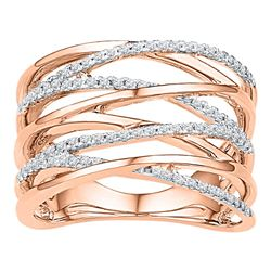 0.25 CTW Diamond Crossover Strand Fashion Ring 10KT Rose Gold - REF-33M8H