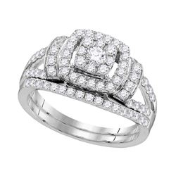1 CTW Diamond Cluster Bridal Wedding Engagement Ring 14KT White Gold - REF-89H9M