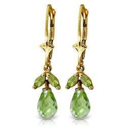 Genuine 3.4 ctw Peridot Earrings Jewelry 14KT Yellow Gold - REF-26Z6N