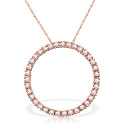 Genuine 0.52 ctw Diamond Anniversary Necklace Jewelry 14KT Rose Gold - REF-70F4Z
