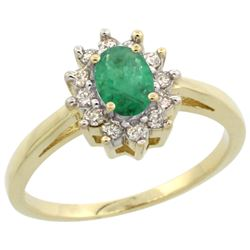 Natural 0.72 ctw Emerald & Diamond Engagement Ring 10K Yellow Gold - REF-40G5M