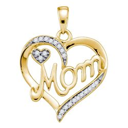 0.10 CTW Diamond Mom Mother Heart Pendant 10KT Yellow Gold - REF-14H9M
