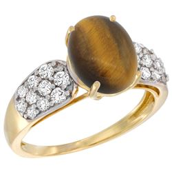 Natural 2.65 ctw tiger-eye & Diamond Engagement Ring 14K Yellow Gold - REF-56R2Z