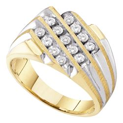 0.50 CTW Mens Diamond 3-Row Cluster Ring 10KT Two-tone Gold - REF-40Y4X