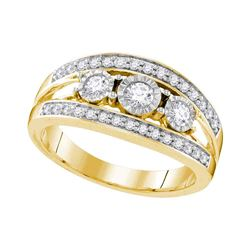 0.50 CTW Diamond 3-stone Bridal Engagement Ring 10KT Yellow Gold - REF-64F4N