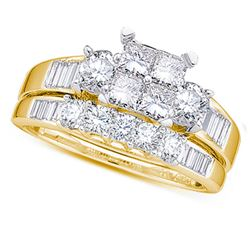 0.50 CTW Princess Diamond Bridal Engagement Ring 10KT Yellow Gold - REF-37F5N