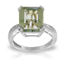 Genuine 5.62 ctw Green Amethyst & Diamond Ring Jewelry 14KT White Gold - REF-82X9M