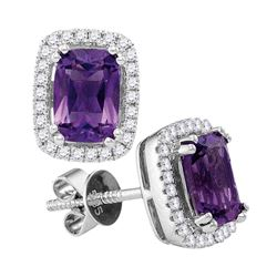 1.87 CTW Oval Natural Amethyst Diamond Stud Earrings 14KT White Gold - REF-64X4Y