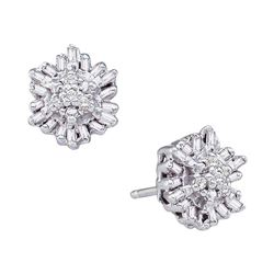 0.11 CTW Diamond Cluster Stud Earrings 14KT White Gold - REF-18Y2X