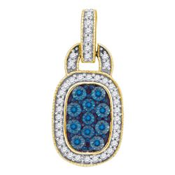 0.45 CTW Blue Color Diamond Rectangle Cluster Pendant 10KT Yellow Gold - REF-34X4Y
