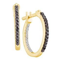 0.25 CTW Black Color Diamond In/Out In Out Hoop Earrings 10KT Yellow Gold - REF-19F4N