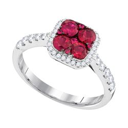 1.1 CTW Ruby Square Cluster Diamond Ring 14KT White Gold - REF-89W9K