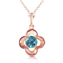 Genuine 0.55 ctw Blue Topaz Necklace Jewelry 14KT Rose Gold - REF-23F6Z