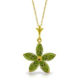 Genuine 1.40 ctw Peridot Necklace Jewelry 14KT Yellow Gold - REF-25X8M