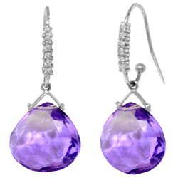 Genuine 17.18 ctw Amethyst & Diamond Earrings Jewelry 14KT White Gold - REF-59X3M