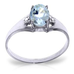 Genuine 0.76 ctw Aquamarine & Diamond Ring Jewelry 14KT White Gold - REF-23M2T