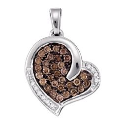 0.50 CTW Cognac-brown Color Diamond Heart Love Pendant 10KT White Gold - REF-30N2F