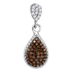 0.25 CTW Cognac-brown Color Diamond Teardrop Cluster Pendant 10KT White Gold - REF-11H2M