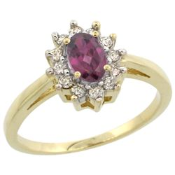 Natural 0.67 ctw Rhodolite & Diamond Engagement Ring 14K Yellow Gold - REF-48Z5Y