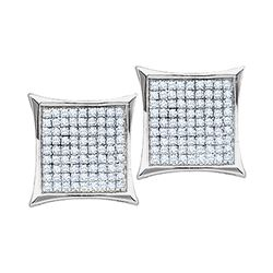 0.10 CTW Diamond Square Kite Cluster Earrings 10KT White Gold - REF-12F2N