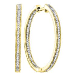 0.50 CTW Diamond In/Out Hoop Earrings 10KT Yellow Gold - REF-49Y5X