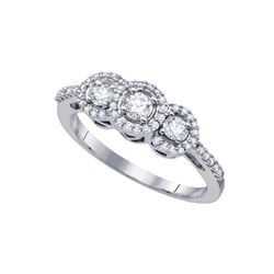 0.50 CTW Diamond 3-stone Bridal Engagement Ring 14KT White Gold - REF-49K5W