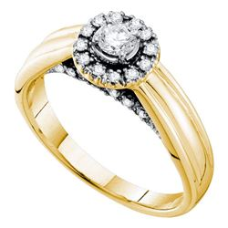 0.33 CTW Diamond Solitaire Halo Bridal Engagement Ring 14KT Yellow Gold - REF-77F9N