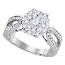 1 CTW Flower Cluster Diamond Bridal Wedding Engagement Ring 14k White Gold - REF-132W2K