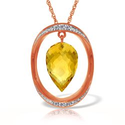 Genuine 9.6 ctw Citrine & Diamond Necklace Jewelry 14KT Rose Gold - REF-109M6T