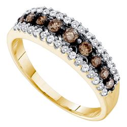 0.50 CTW Cognac-brown Color Diamond Triple Row Ring 10KT Yellow Gold - REF-22X4Y