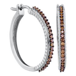 0.50 CTW Cognac-brown Color Diamond Single Row Hoop Earrings 10KT White Gold - REF-37F5N