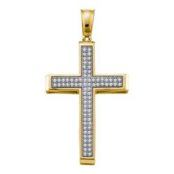0.25 CTW Diamond Cross Pendant 10KT Yellow Gold - REF-26N9F