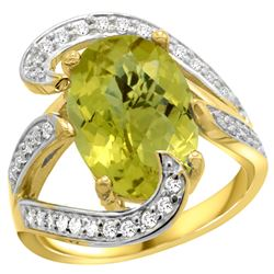 Natural 6.22 ctw lemon-quartz & Diamond Engagement Ring 14K Yellow Gold - REF-129H2W