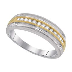 0.25 CTW Mens Diamond Wedding Anniversary Ring 10KT Two-tone Gold - REF-30F2N