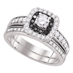 1 CTW Diamond Halo Bridal Engagement Ring 14KT White Gold - REF-133K5W