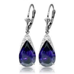 Genuine 9.3 ctw Sapphire Earrings Jewelry 14KT White Gold - REF-87Z3N