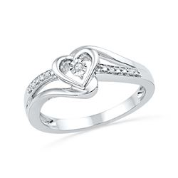 0.03 CTW Diamond Heart Love Promise Bridal Ring 10KT White Gold - REF-16H4M