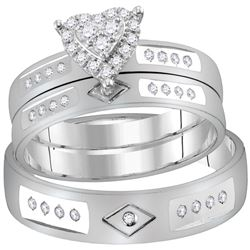 0.25 CTW His & Hers Diamond Heart Matching Bridal Ring 14KT White Gold - REF-75N2F