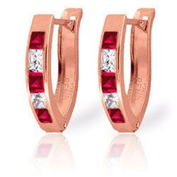 Genuine 1.26 ctw Ruby & White Topaz Earrings Jewelry 14KT Rose Gold - REF-26R2P