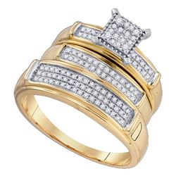 0.37 CTW His & Hers Diamond Cluster Matching Bridal Ring 10KT Yellow Gold - REF-44F9N