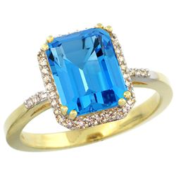 Natural 2.63 ctw Swiss-blue-topaz & Diamond Engagement Ring 14K Yellow Gold - REF-42H8W