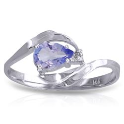 Genuine 0.51 ctw Tanzanite & Diamond Ring Jewelry 14KT White Gold - REF-29R3P