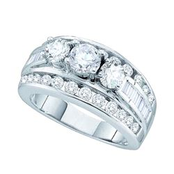 1 CTW Diamond 3-stone Bridal Engagement Ring 14k White Gold - REF-149W9K