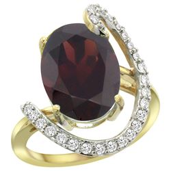 Natural 6.91 ctw Garnet & Diamond Engagement Ring 14K Yellow Gold - REF-100K3R